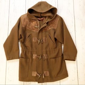 Forenza vintage brown wool leather hooded coat 4